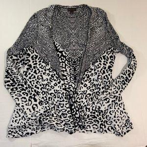 Dana Buchman White Leopard Print Cardigan L